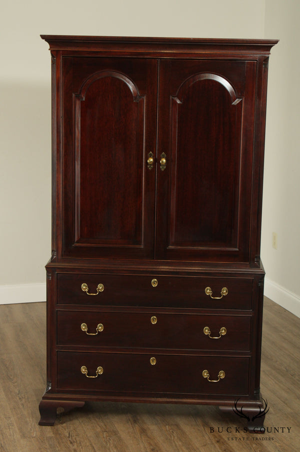 Stickley Mahogany Tall Door Chest Armoire W/ TV Pullout