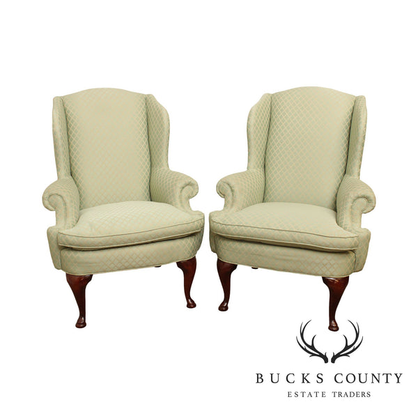 Wesley Hall Queen Anne Style Mahogany Pair Wing Chairs