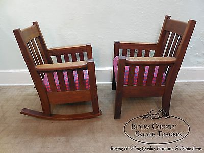 Harden Antique Mission Oak 3 Piece Parlor Set w/ Settee, Rocker & Arm Chair