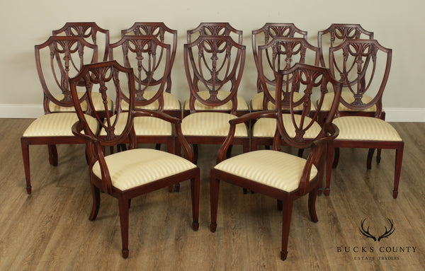 Henkel Harris Hepplewhite Style Set 12 Mahogany Shield Back Dining Chairs