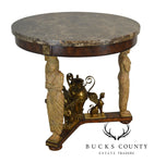 Maitland Smith Egyptian Revival Round Marble Top Empire Style Center Table