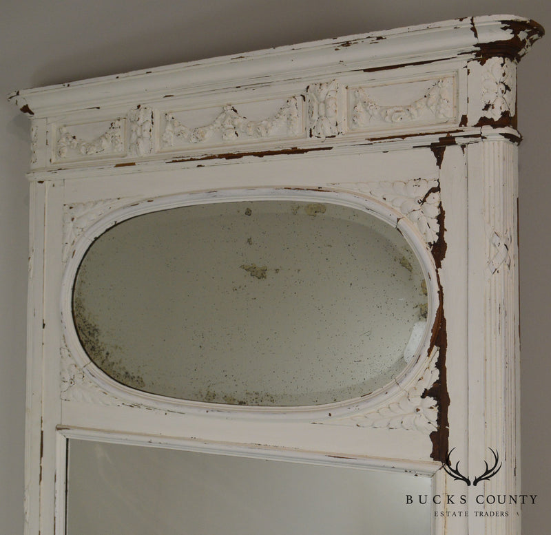 French Louis XV Style Antique Distressed White Painted Large Trumeau Mirror
