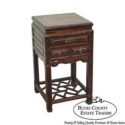 Antique Chinese Square Top Side Table w/ Drawers
