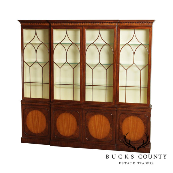 Baker Stately Homes Large Mahogany Inlaid Breakfront