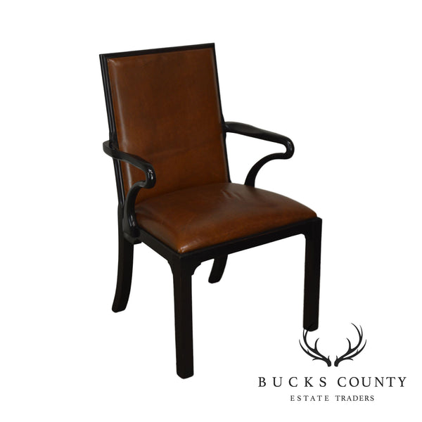 George II Style Quality Brown Leather Armchair