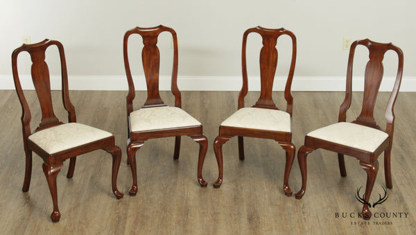 Henkel Harris Cherry Queen Anne Style Set 4 Dining Chairs