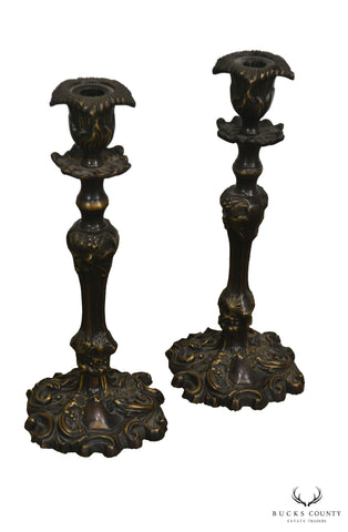 Bronze Pair French Style Candle Stick Holders