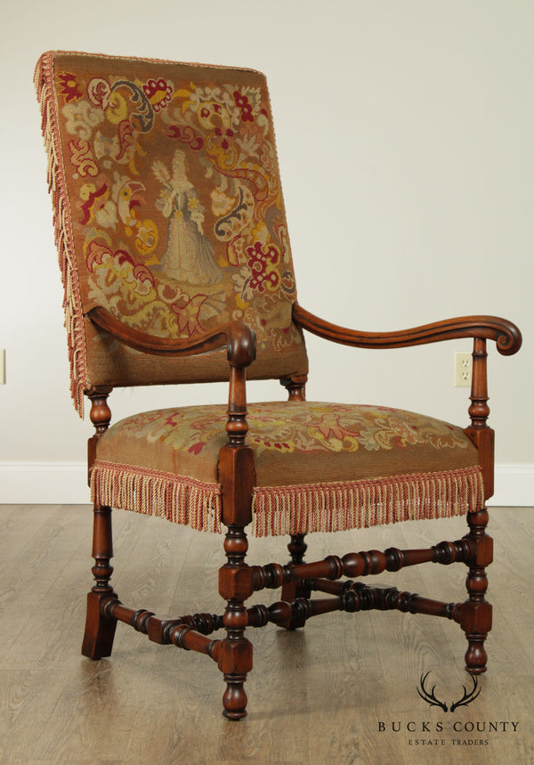 French Louis XIII Style Antique Walnut Tapestry, Needlepoint Armchair
