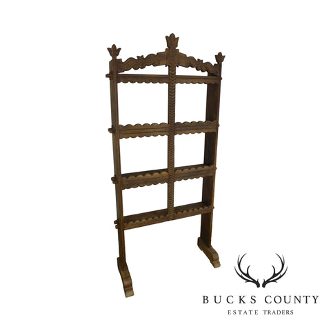 French Country Antique Oak Standing Spice Rack