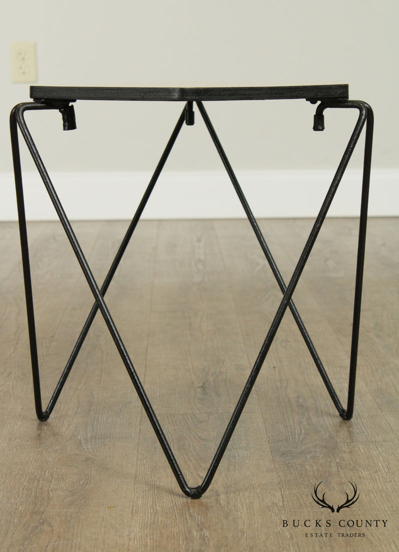 Mid Century Modern Pair Forged Iron Base Hexagon Top Side Tables