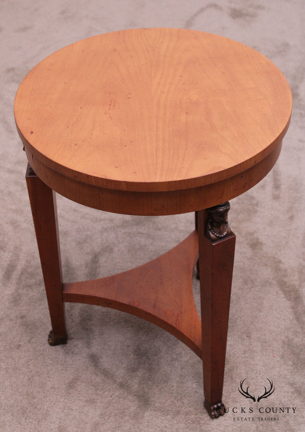 Baker French Empire Style Egyptian Revival Small Round Side Table