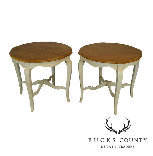 Ethan Allen Country Frencg Painted Base Pair of Side Tables