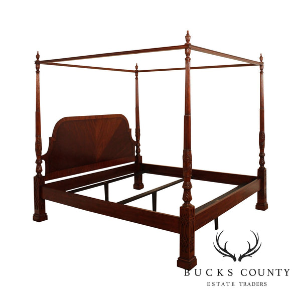 Hickory Chair Chippendale Style Mahogany King Size Poster, Canopy Bed