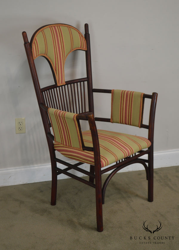French Art Nouveau Antique Bent Wood Armchair