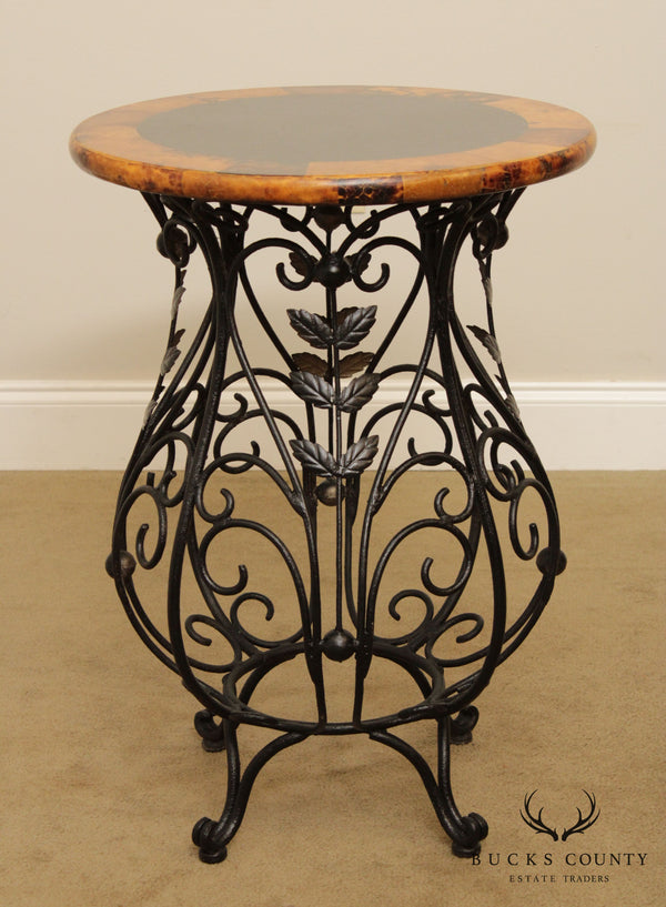 Quality Round Wrought Iron Base Side Table Faux Tortise Shell Top