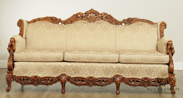 Antique Renaissance Revival Elaborately Carved Custom Upholstered Sofa