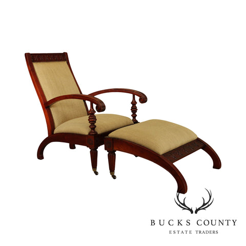 Vanguard British Colonial Plantation Style Mahogany Lounge Chair with Ottoman