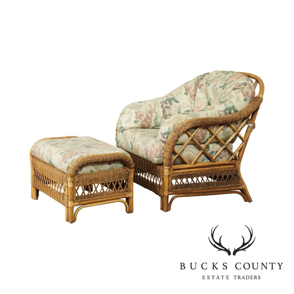 Braxton Culler Winker & Rattan Lounge Chair With Ottoman
