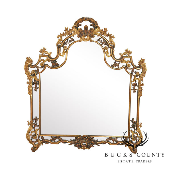 Rococo Style Large Gilt Wood Frame Over Mantel Mirror