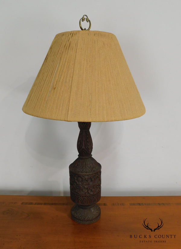 Unusual Vintage Anglo Indian Carved Column Table Lamp