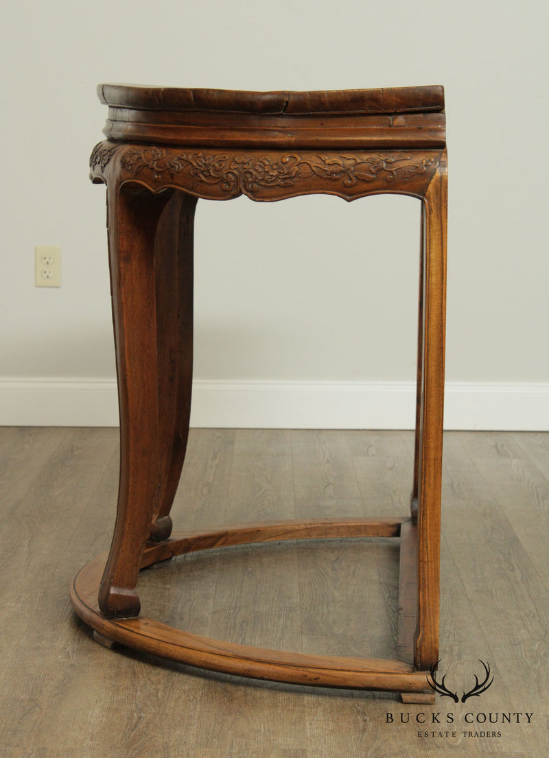 Antique Chinese Carved Campher Wood Demilune Console Table