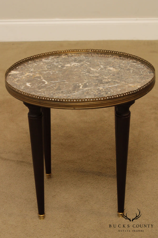 French Louis XVI Style Vintage Round Marble Top Low Bouillotte Side Table