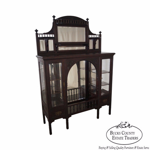 Antique Mahogany Aesthetic Art Nouveau Style Etagere Display Cabinet