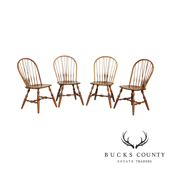 Hale Vintage Set 4 Maple Brace Back Windsor Dining Chairs