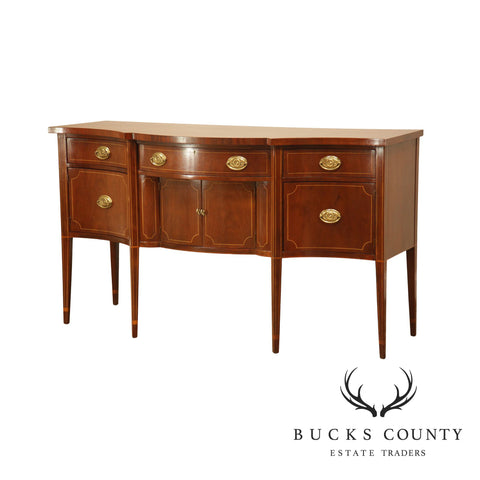 Baker Mahogany Federal Style Inlaid Serpentine Sideboard
