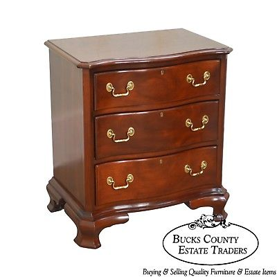 Councill Craftsman Solid Mahogany Chippendale Style Serpentine Chest Nightstand