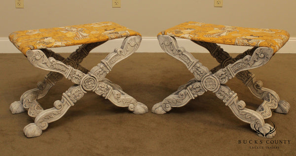 Italian Baroque Style Carved Pair X Base Benches or Stools