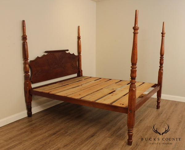 Antique 19th Century Caribbean West Indies Mahogany Poster Bed