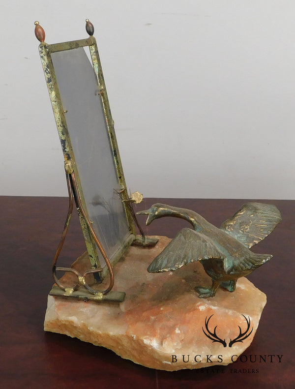 Curtis Jere Goose Fighting Mirror Reflection on Quartz Base