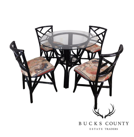Ficks Reed Vintage Black Rattan Round Glass Dining Dinette Table with 4 Chairs Set