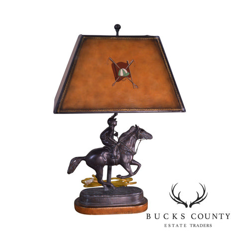 Maitland Smith Bronze Horse & Jockey Table Lamp with Leather Shade