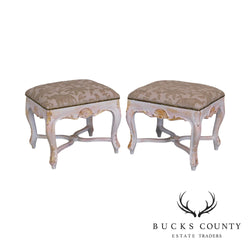 Italian Rococo Style Gilt & Painted Carved Pair Stools