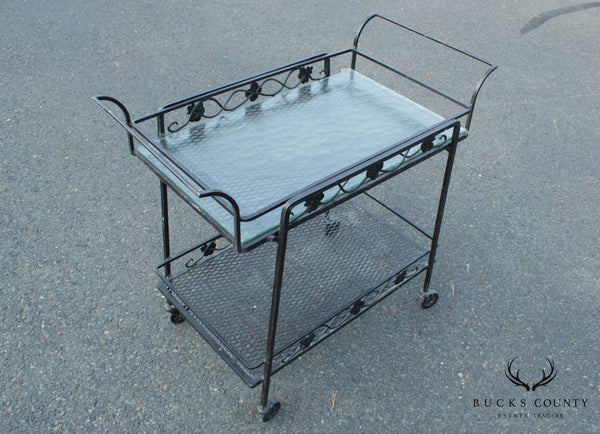 Vintage Quality Wrought Iron Patio Serving Cart