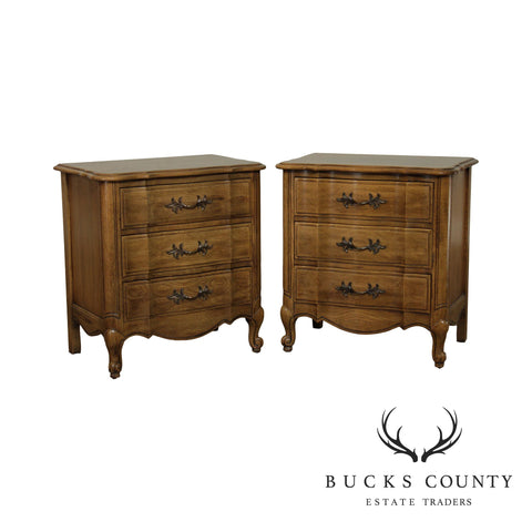 Thomasville French Louis XV Style Vintage Pecan Wood 3 Drawer Chests, Nightstands
