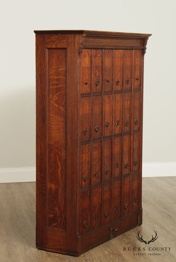 Lang Antique Oak 24 Drawer Document File Cabinet