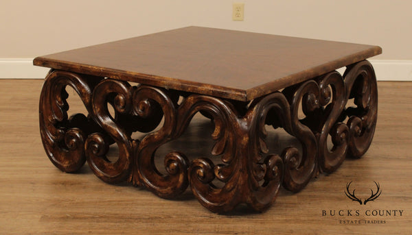 Hooker Furniture Rococo Carved 44 Inch Square Coctail, Coffee Table
