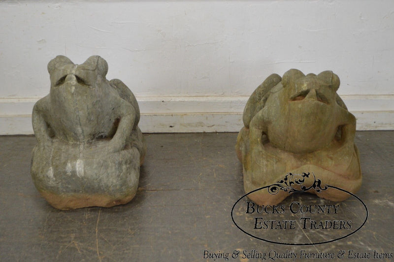 Large Vintage Pair of Marble Frog Garden Statues Sculptures
