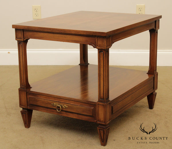 Widdicomb French Regency Style Vintage Walnut One Drawer Side Table