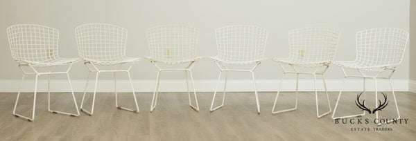 Harry Bertoia for Knoll Mid Century Modern Set 6 White Wire Dining Chairs