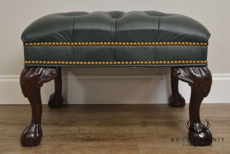 Mckinley Green Tufted Leather Chippendale Style Ball
