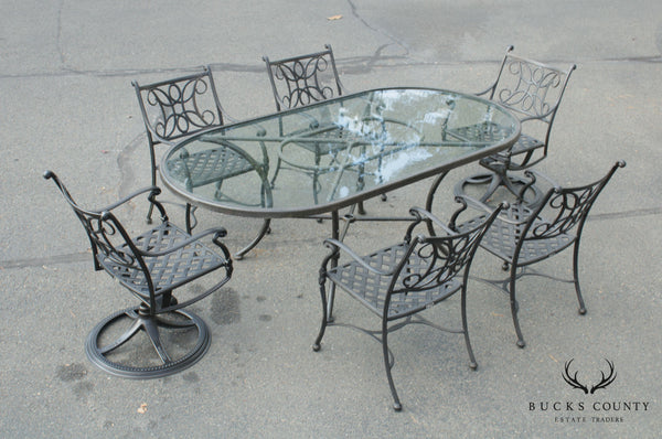 Woodard Landgrave Cast Aluminum 7 Pc Patio Dining Set, Table + Chairs