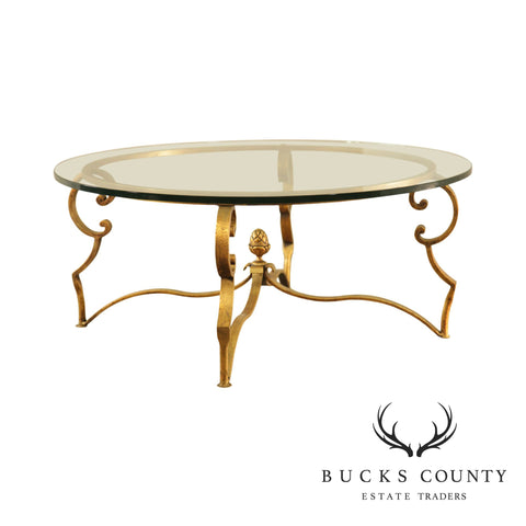 Hollywood Regency Vintage Gilt Metal Round Glass Top Coffee Table