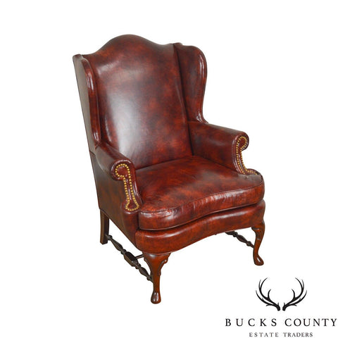 Queen Anne 18th Century Style Brown Leather Wing Chair