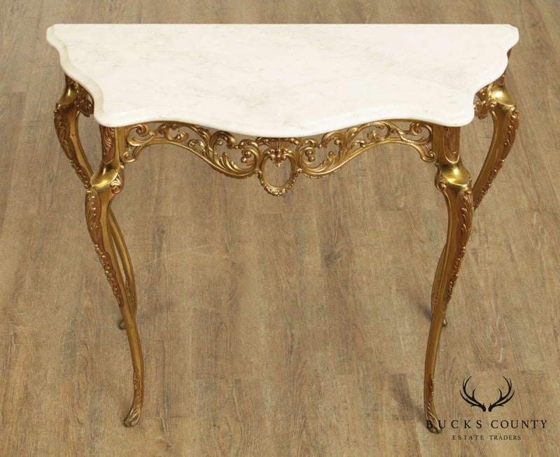 Vintage Louis XV Style Brass Base Marble Top Console Table