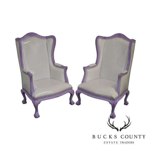 White & Purple Pair Rococo Style High Back Wing Chairs