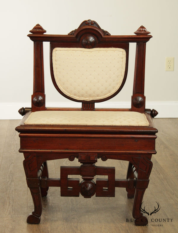 Antique 19th Century Aesthetic Victorian Walnut Music Chair with Storage